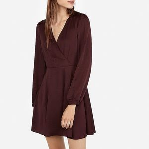 Express Maroon Long Sleeve Surplice Mini Dress